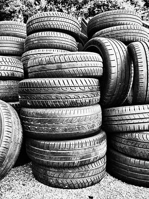Old Vehicle Tyres Poster