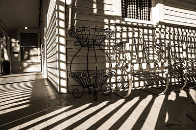 Old Victorian Porch In Sunlight And Shadow Poster by Scott Hales