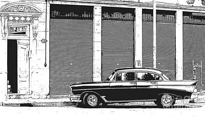 Old Vintage Car In Havana Poster by Edward Fielding