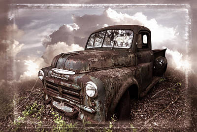 Old Vintage Dodge Truck In Soft Sepia Tones And Creative Border Poster
