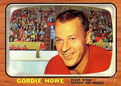Old Vintage Gordie Howe Hockey Card Collectable Poster by Pd