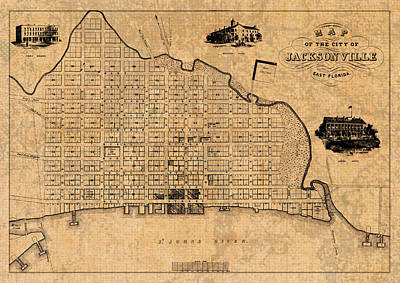 Old Vintage Map Of Jacksonville Florida Circa 1859 On Worn Distressed Parchment Poster