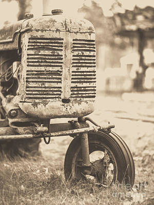 Poster featuring the photograph Old Vintage Tractor Brown Toned by Edward Fielding