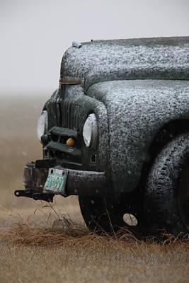 Old Vintage Truck In Winter Storm Saskatchewan Poster