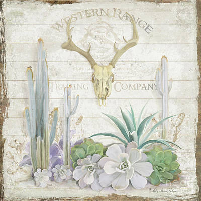 Poster featuring the painting Old West Cactus Garden W Deer Skull N Succulents Over Wood by Audrey Jeanne Roberts