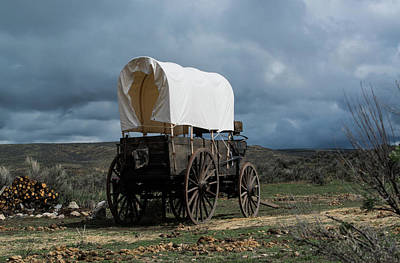Old West Covered Chuckwagon In Approaching Storm Poster by Georgia Evans