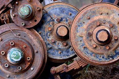 Old Wheels, Circles And Bolts Poster