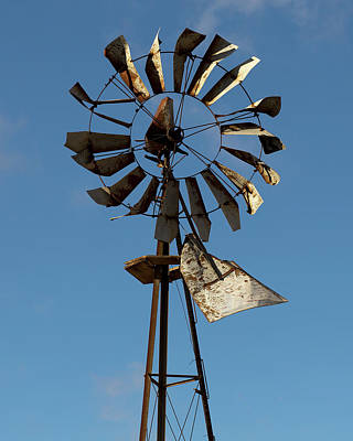 Old Windmill Against Blue Sky Poster