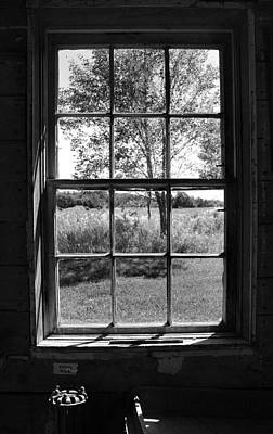 Old Window Bw Poster