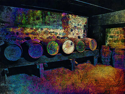 Poster featuring the digital art Old Wine Barrels by Glenn McCarthy Art and Photography
