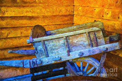 Old Wine Cart Oil Painting Poster