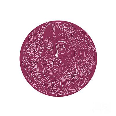 Old Woman Face Circle Mandala Poster by Aloysius Patrimonio