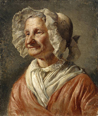 Old Woman In A White Bonnet Poster by Karl Emanuel Jansson