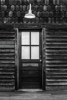 Poster featuring the photograph Old Wood Door And Light Black And White by Terry DeLuco
