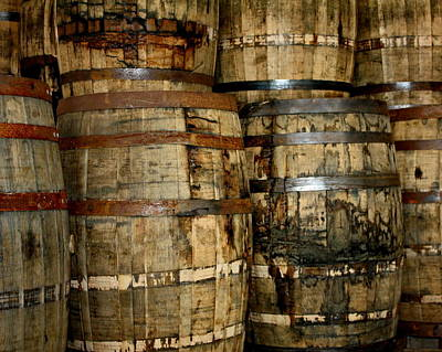 Old Wood Whiskey Barrels Poster