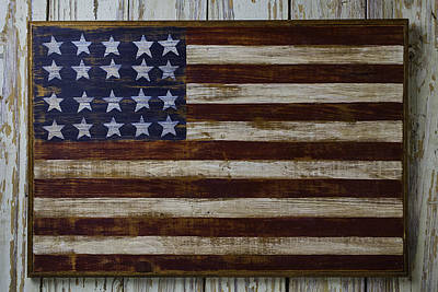 Old Wooden American Flag Poster