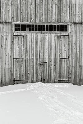 Old Wooden Barn Doors In The Snow Poster