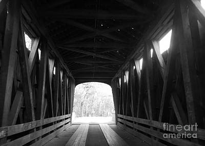 Old Wooden Covered Bridge - Southern Indiana - Black And White Poster