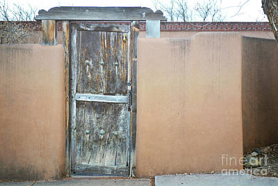 Poster featuring the photograph Old Wooden Door Adobe by Andrea Hazel Ihlefeld