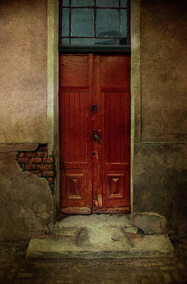 Old Wooden Gate Painted In Red  Poster