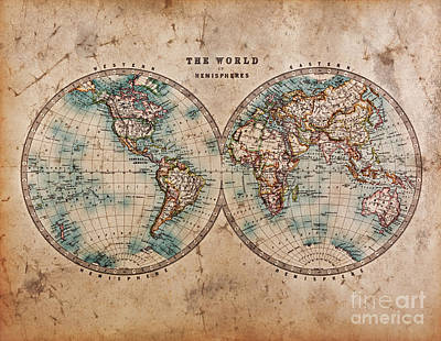 Old World Map In Hemispheres Poster by Richard Thomas