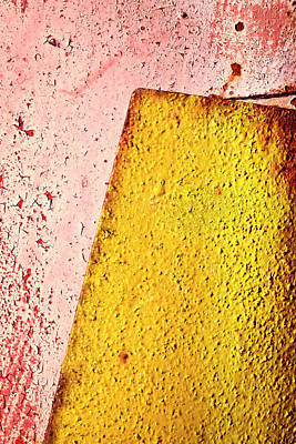 Old Yellow Plate On Red Poster