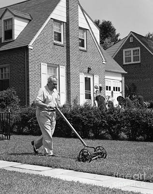 Older Man Mowing Lawn, C.1940-50s Poster by H. Armstrong Roberts/ClassicStock
