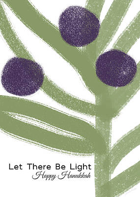 Olive Branch Hanukkah Card- Art By Linda Woods Poster
