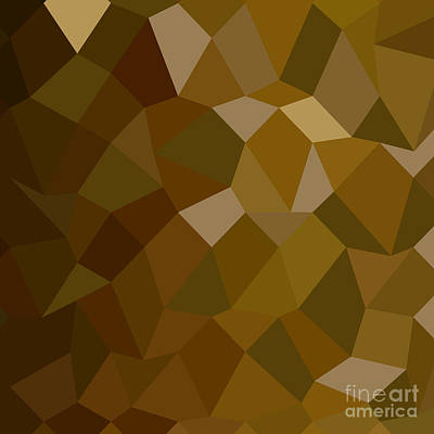 Olive Drab Abstract Low Polygon Background Poster by Aloysius Patrimonio