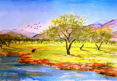 Poster featuring the painting Olive Grove by Valerie Anne Kelly