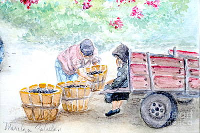 Poster featuring the painting Olive Pickers by Marilyn Zalatan