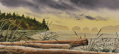 Poster featuring the painting Olympic Seashore Sunset by James Williamson