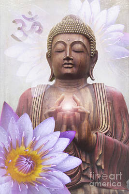 Om Mani Padme Hum - Buddha Lotus Poster