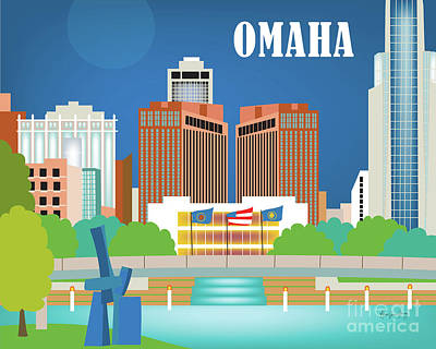 Omaha Nebraska Horizontal Skyline Poster by Karen Young