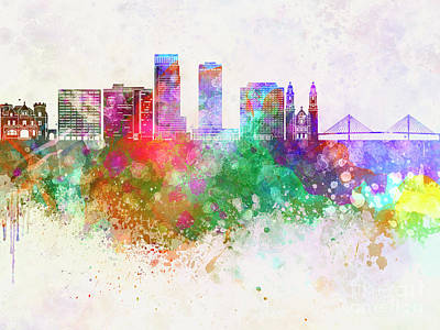Omaha V2 Skyline In Watercolor Background Poster by Pablo Romero