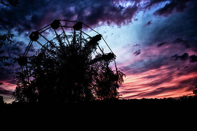 Ominous Abandoned Ferris Wheel Poster