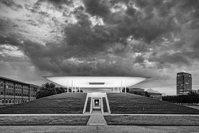 Ominous Clouds Over The James Turrell Skyscape  Twilight Epiphany - Rice University Houston Texas Poster by Silvio Ligutti