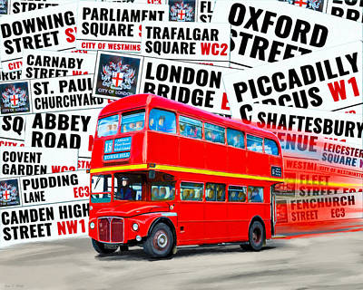 On A Bus For London Poster by Mark E Tisdale