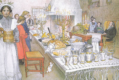 On Christmas Eve Poster by Carl Larsson