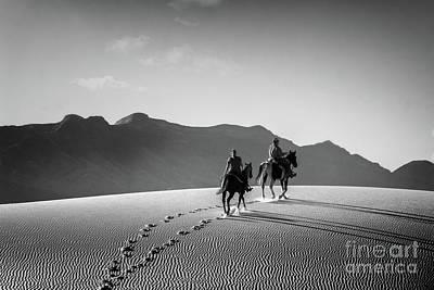 On Horseback At White Sands Poster