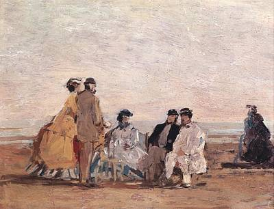 On The Beach At Trouville Poster by Eugene Louis Boudin
