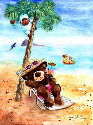 On The Beach In Benidorm Poster by Miki De Goodaboom