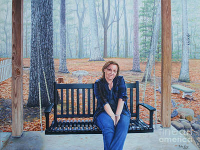 Poster featuring the painting On The Porch Swing by Mike Ivey