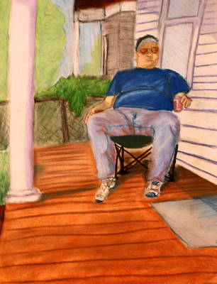 Poster featuring the pastel On The Porch With Uncle Pervy by Jean Haynes
