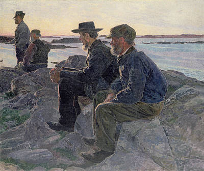 On The Rocks At Fiskebackskil Poster by Carl Wilhelm Wilhelmson