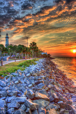 On The Rocks St Simons Island Sunrise Poster by Reid Callaway