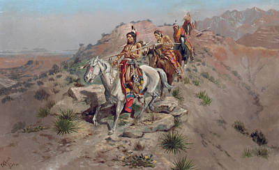 On The Warpath Poster by Charles Marion Russell