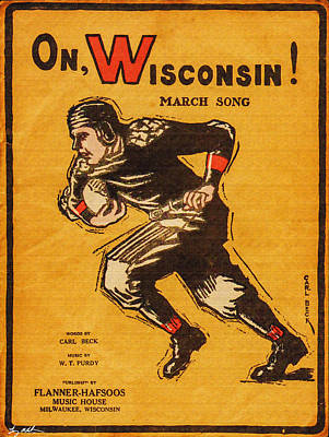 On Wisconsin Sheet Music Poster - Oil Poster