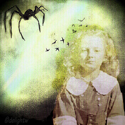 Poster featuring the digital art Once There Was A Spider by Delight Worthyn