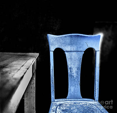 Poster featuring the photograph One Blue Bodie Chair by Craig J Satterlee